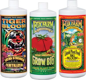 foxfarm liquid nutrient trio for flowering grow big buds