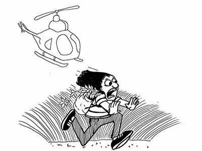 Running away from a helicopter with cannabis