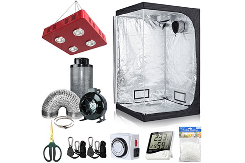#3 Best Grow Tent Kit 2020: BloomGrow 300W UFO LED Light Grow Tent Kit