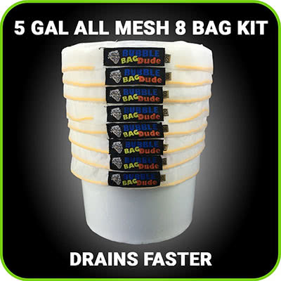 BUBBLEBAGDUDE All Mesh 5 Gallon 8 Bag Hash Ice Extractor Kit